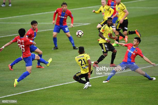 Roy Krishna of the Wellington Phoenix passes during the round 15 ALeague match between the Wellington Phoenix and the Central Coast Mariners at...