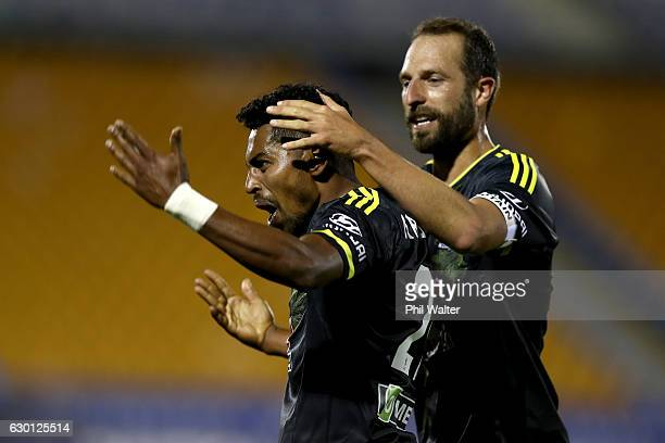 Roy Krishna of Wellington celebrates his goal during the round 11 ALeague match between Wellington and Western Sydney Wanderers at Mt Smart Stadium...
