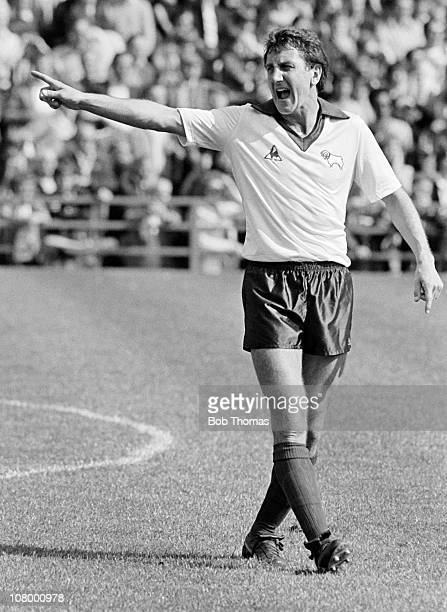 Roy McFarland in action for Derby County during the First Division match between Derby County and Everton at the Baseball Ground in Derby 25th August...