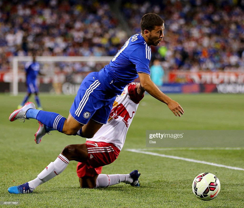 Roy Miller #7 of New York Red Bulls and Eden Hazard #10 of Chelsea collide in the second half during the International Champions Cup at Red Bull Arena on July 22, 2015 in Harrison, New Jersey.The New York Red Bulls defeated Chelsea 4-2.
