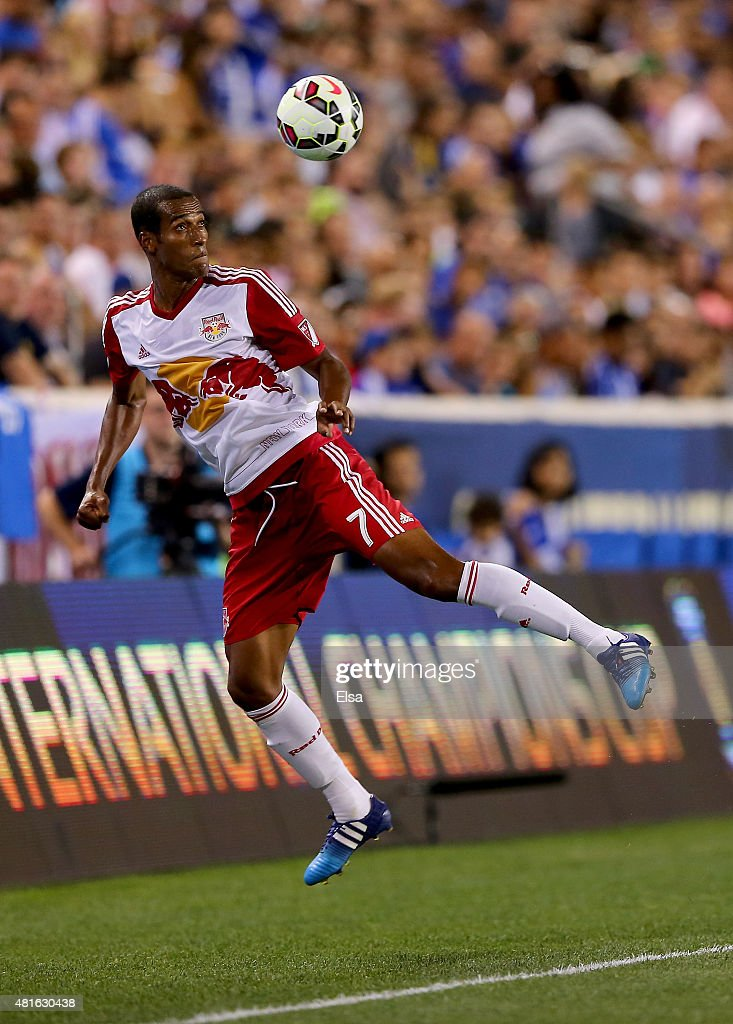 Roy Miller #7 of New York Red Bulls tries to keep the ball in play in the second half against Chelsea during the International Champions Cup at Red Bull Arena on July 22, 2015 in Harrison, New Jersey.The New York Red Bulls defeated Chelsea 4-2.