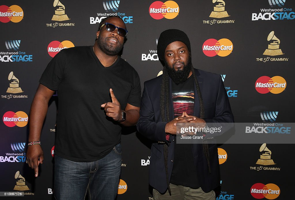 Roy Morgan and <a gi-track='captionPersonalityLinkClicked' href=/galleries/search?phrase=Peter+Morgan&family=editorial&specificpeople=4162226 ng-click='$event.stopPropagation()'>Peter Morgan</a> of Morgan Heritage attend the Westwood One Radio Remotes during The 58th GRAMMY Awards at Staples Center on February 13, 2016 in Los Angeles, California.