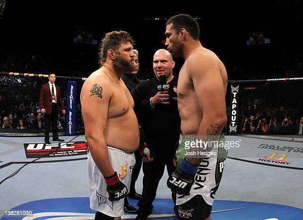 Roy Nelson and Fabricio Werdum face off before their fight during the UFC 143 event at Mandalay Bay Events Center on February 4 2012 in Las Vegas...