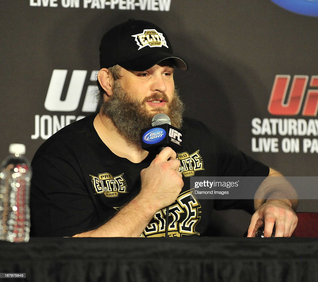 Roy Nelson answers questions from the media after UFC 159 Jones v. Sonnen at Prudential Center in Newark, New Jersey.