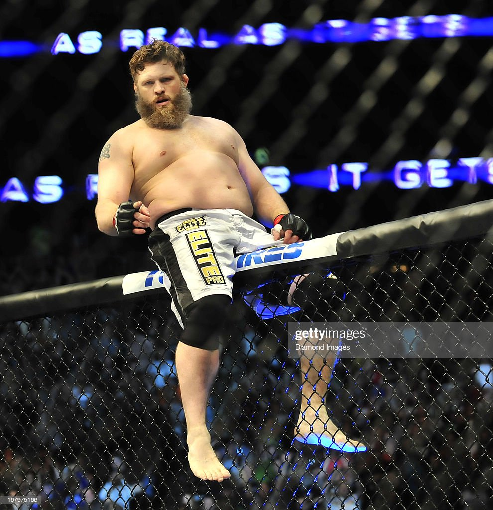Roy Nelson celebrates after a knockout victory after a heavyweight bout during UFC 159 Jones v Sonnen at Prudential Center in Newark New Jersey
