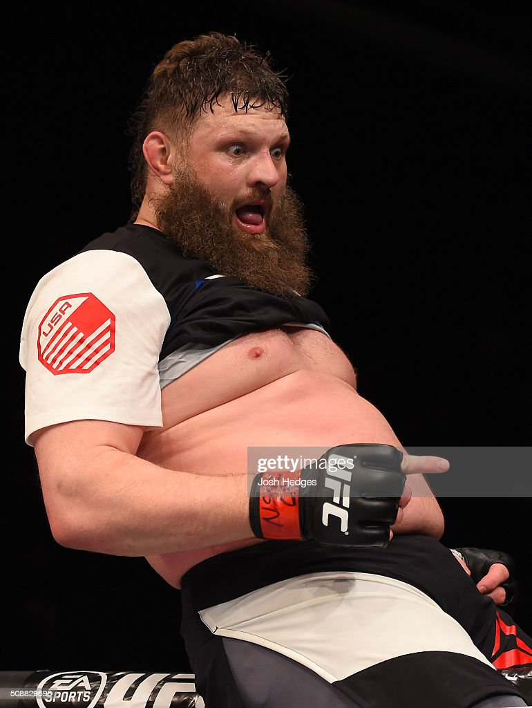 Roy Nelson celebrates after defeating Jared Rosholt in their heavyweight bout during the UFC Fight Night event at MGM Grand Garden Arena on February...