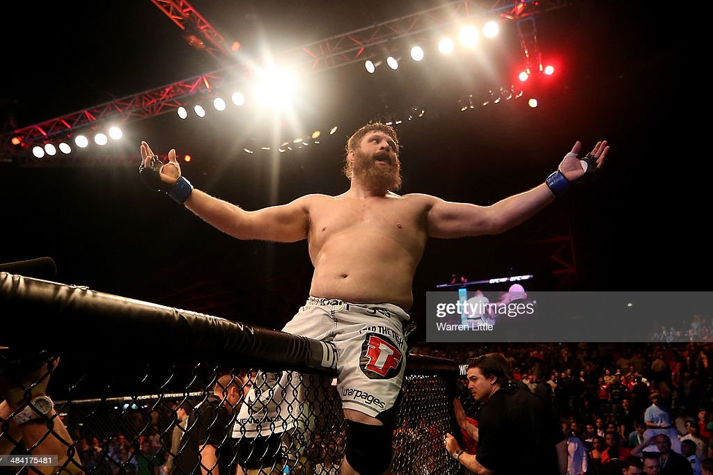 Roy Nelson celebrates his knockout victory against Antonio Rodrigo Nogueira in their heavyweight bout during UFC Fight Night 39 at du Arena on April...