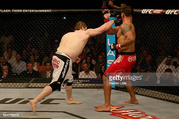 Roy Nelson connects with a right and knocks out Antonio Rodrigo Nogueira in the first round during their heavyweight bout during UFC Fight Night 39...