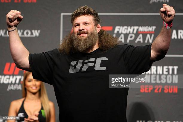 Roy Nelson during the UFC weighin at the Saitama Super Arena on September 25 2015 in Saitama Japan