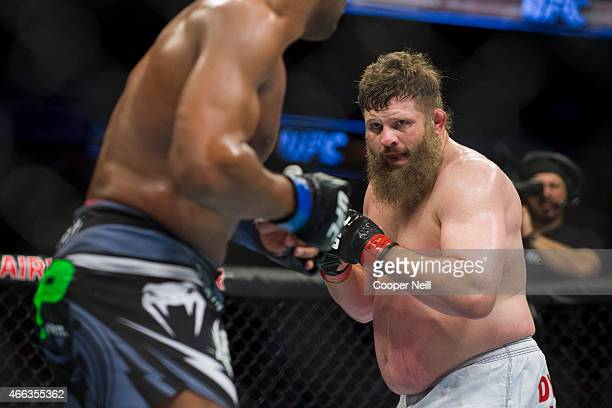 Roy Nelson fights against Alistair Overeem during UFC 185 at the American Airlines Center on March 14 2015 in Dallas Texas
