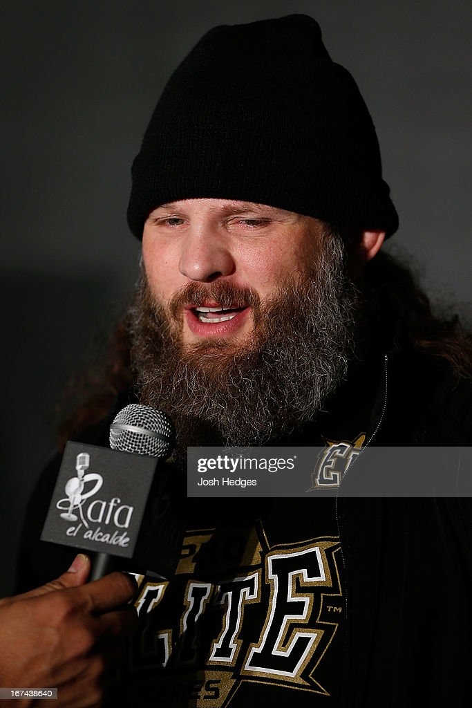 Roy Nelson interacts with media during UFC 159 media day at The Theater at Madison Square Garden on April 25, 2013 in New York City.