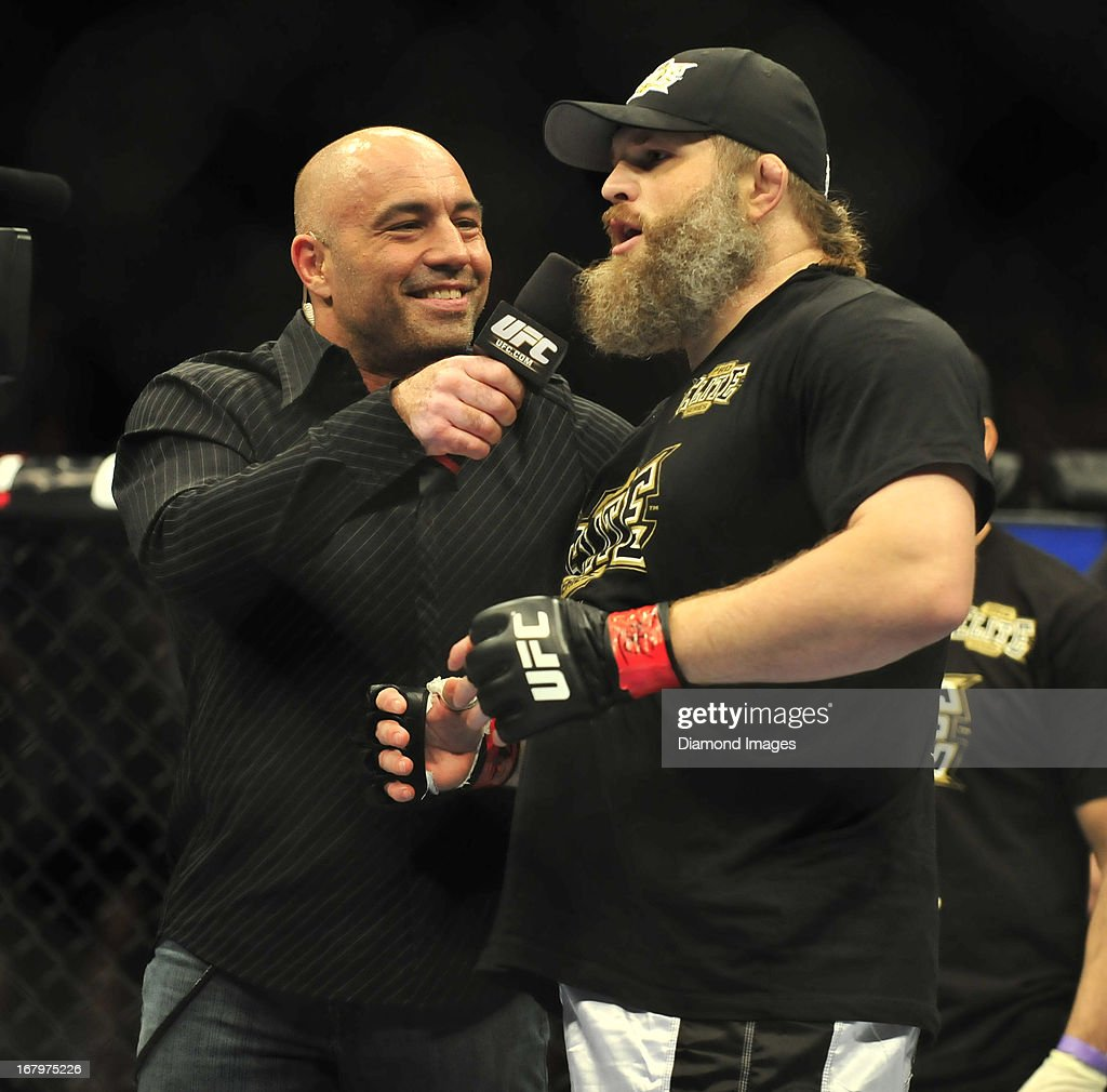 Roy Nelson is interviewed by commentator Joe Rogan after a heavyweight bout during UFC 159 Jones v. Sonnen at Prudential Center in Newark, New Jersey.