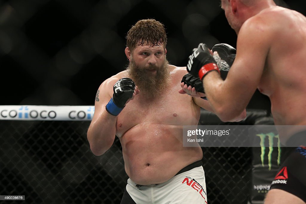 Roy Nelson of USA looks on in his heavyweight bought against Josh Barnett during UFC Fight Night at Saitama Super Arena on September 27 2015 in...
