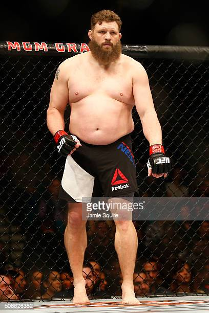 Roy Nelson prepares to fight Jared Rosholt in their heavyweight bout during the UFC Fight Night event at MGM Grand Garden Arena on February 6 2016 in...