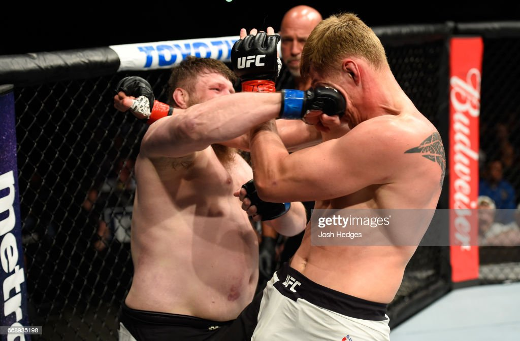 Roy Nelson punches Alexander Volkov of Russia in their heavyweight fight during the UFC Fight Night event at Sprint Center on April 15, 2017 in Kansas City, Missouri.
