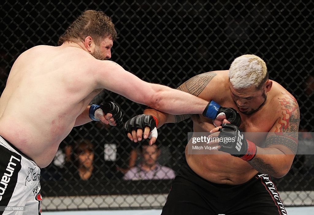 Roy Nelson punches Mark Hunt in their heavyweight bout during the UFC Fight Night event inside the Saitama Arena on September 20 2014 in Saitama Japan