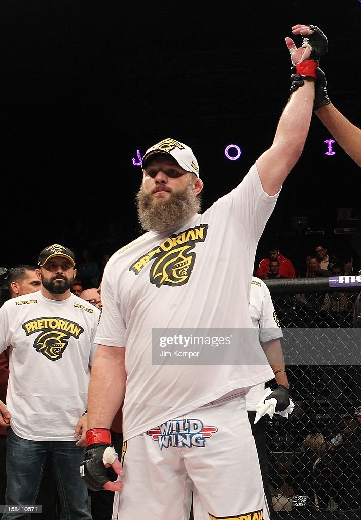 <a gi-track='captionPersonalityLinkClicked' href=/galleries/search?phrase=Roy+Nelson&family=editorial&specificpeople=4230645 ng-click='$event.stopPropagation()'>Roy Nelson</a> reacts to being declared the winner over Matt Mitrione during their heavyweight fight at the TUF 16 Finale on December 15, 2012 at the Joint at the Hard Rock in Las Vegas, Nevada.