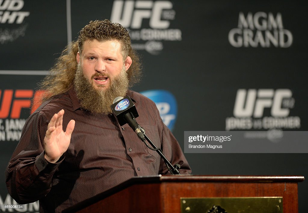 Roy Nelson speaks to the media during the UFC 182 post fight press conference inside the MGM Grand Hotel/Casino on January 3 2015 in Las Vegas Nevada