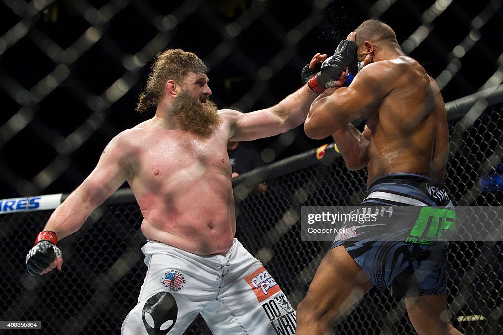 Roy Nelson throws a punch against Alistair Overeem during UFC 185 at the American Airlines Center on March 14 2015 in Dallas Texas