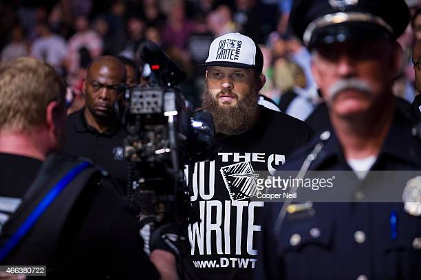 Roy Nelson walks to the octagon before his fight with Alistair Overeem during UFC 185 at the American Airlines Center on March 14 2015 in Dallas Texas
