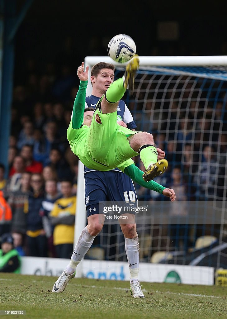 Roy O'Donovan of Northampton Town attempts an overhead kick as Barry Corrr of Southend United looks on during the npower League Two match between Southend United and Northampton Town at Roots Hall on February 16, 2013 in Southend, England.