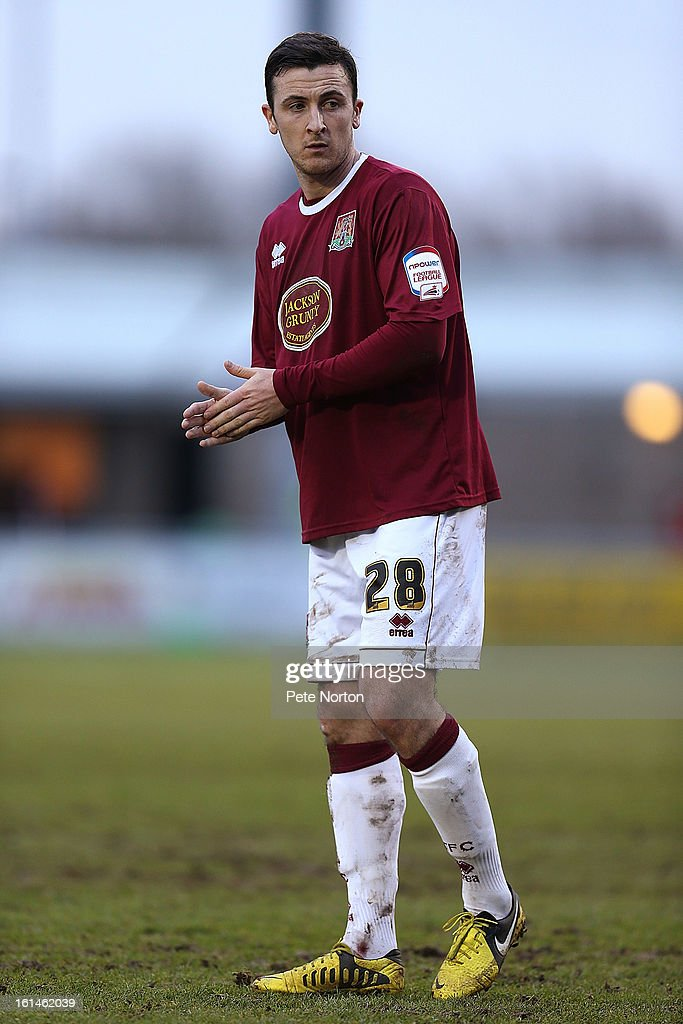 Roy O'Donovan of Northampton Town in action during the npower League Two match between Northampton Town and Rochdale at Sixfields Stadium on February 9, 2013 in Northampton, England.