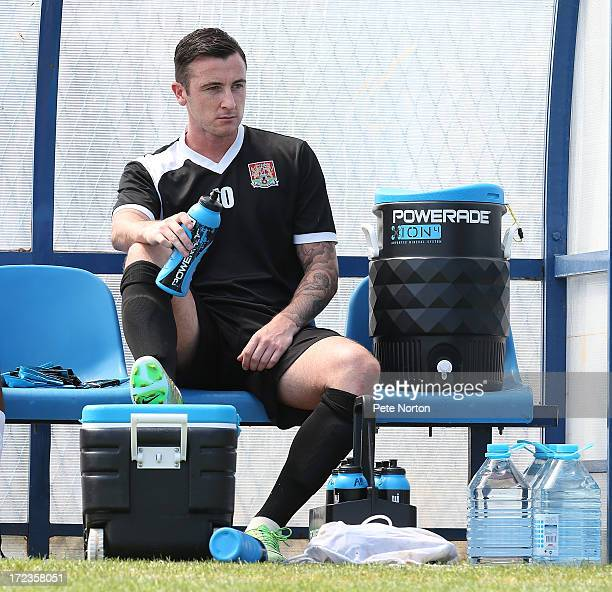 Roy O'Donovan of Northampton Town takes a drink during a training session during PreSeason Training on July 2 2013 in Novigrad Croatia