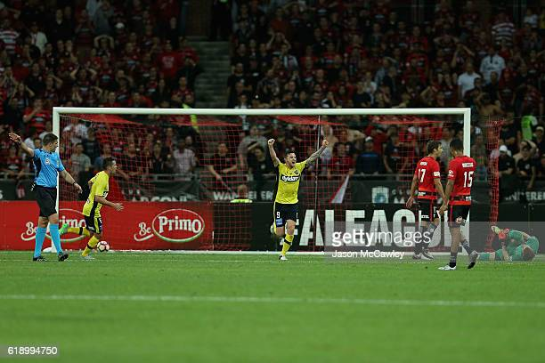 Roy O'Donovan of the Mariners celebrates a goal during the round four ALeague match between the Western Sydney Wanderers and the Central Coast...