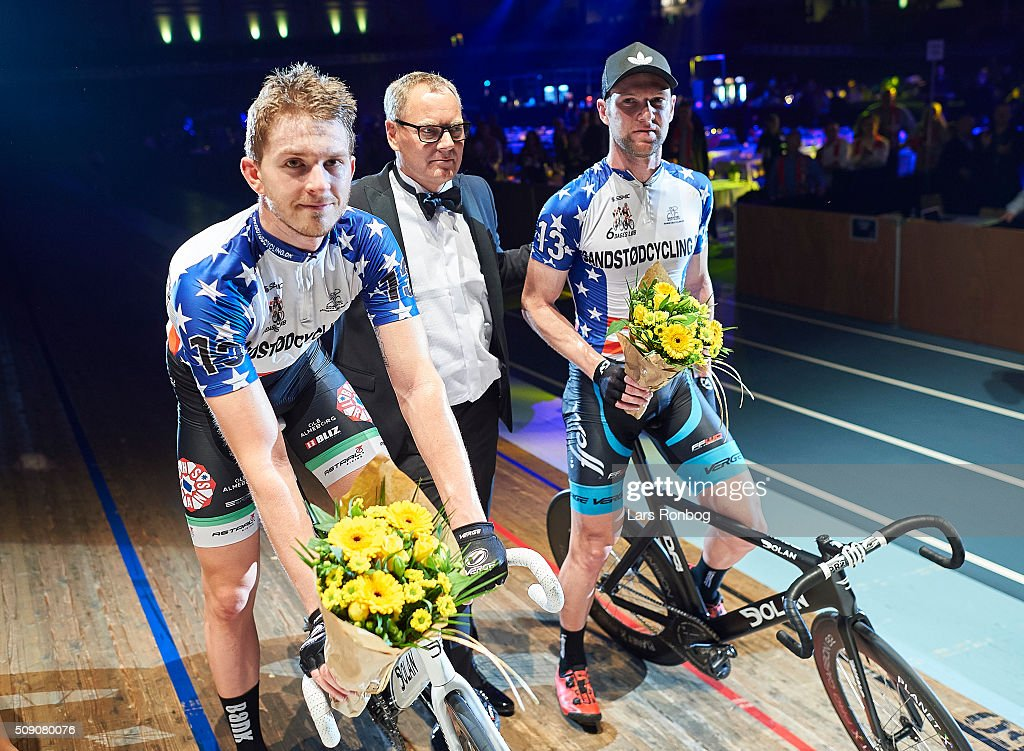 Roy Pieters and Simon Bigum (L) celebrate winning the 'handicap' madison after day five at the Copenhagen Six Days Race Cycling at Ballerup Super Arena on February 8, 2016 in Ballerup, Denmark.