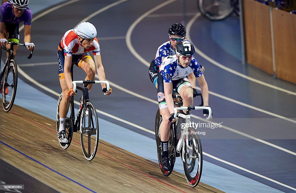 Roy Pieters and Simon Bigum in action during the 'handicap' madison in day five at the Copenhagen Six Days Race Cycling at Ballerup Super Arena on February 8, 2016 in Ballerup, Denmark.