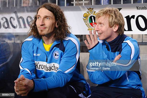 Roy Praeger talks to Stefan Kretzschmar during the Ansgar Brinkmann Farewell Match at the Schueco Arena on March 27 2009 in Bielefeld Germany