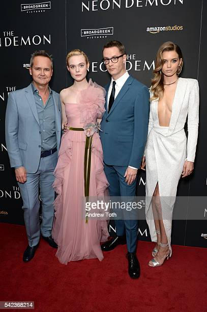 Roy Price Elle Fanning Nicolas Winding Refn and Abbey Lee attends the 'The Neon Demon' New York premiere at Metrograph on June 22 2016 in New York...