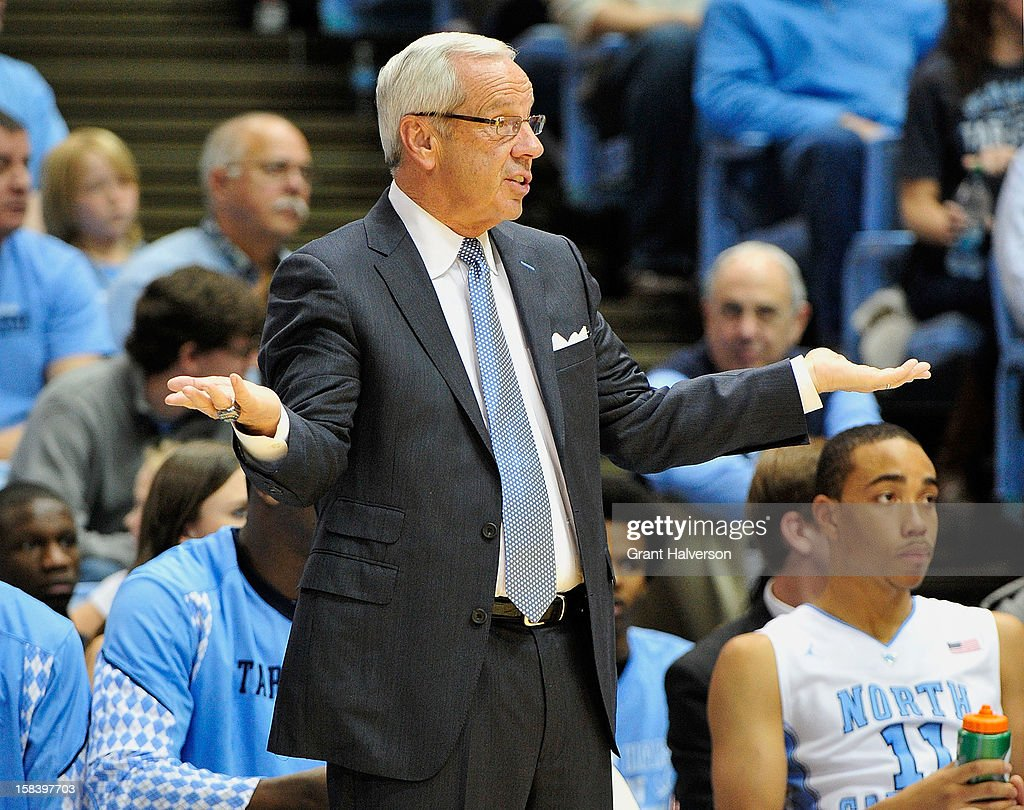 Roy Williams of the North Carolina Tar Heels gestures during a game against the East Carolina Pirates at the Dean Smith Center on December 15, 2012 in Chapel Hill, North Carolina. North Carolina won 93-87.