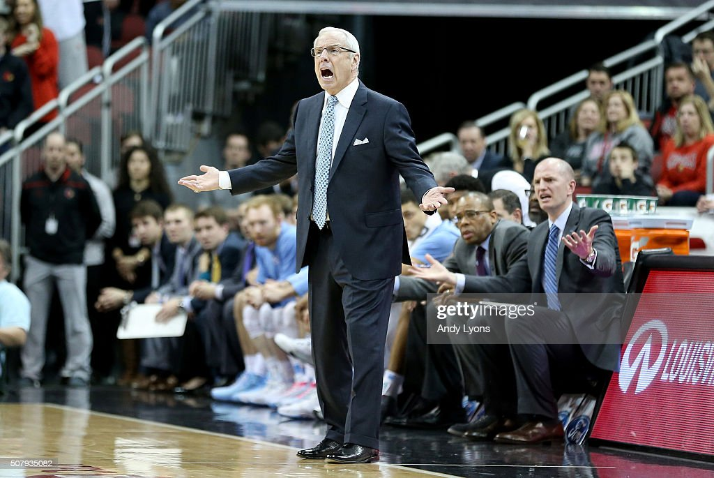 Roy Williams the head coach of the North Carolina Tar Heels reacts to an officals call during the game against the Louisville Cardinals at KFC YUM! Center on February 1, 2016 in Louisville, Kentucky.