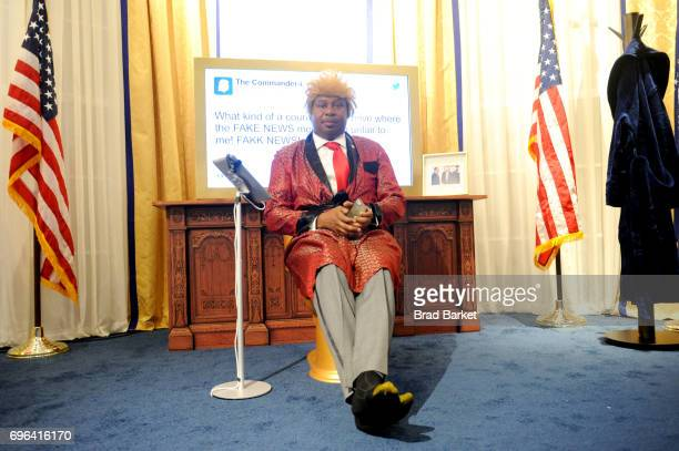 Roy Wood Jr attends the The Donald J Trump Presidential Twitter Library Opening Reception presented by Comedy Central's The Daily Show on June 15...