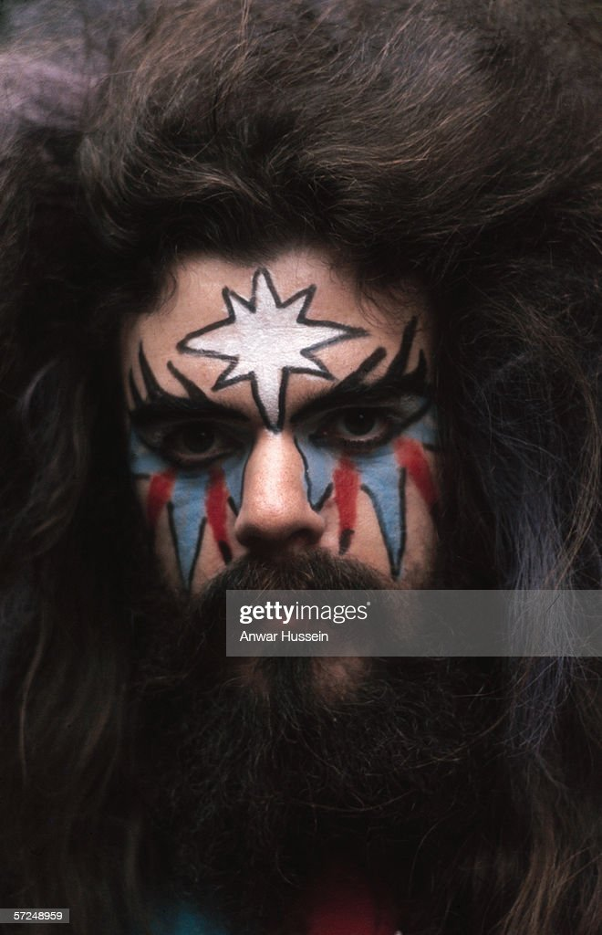 Roy Wood of Wizzard in his customary face paint and wild hair, circa 1975.