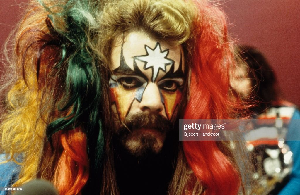 Roy Wood of Wizzard poses for a portrait, in stage make up with brightly dyed hair, on the set of a TV show in 1973 in Hilversum, Netherlands.