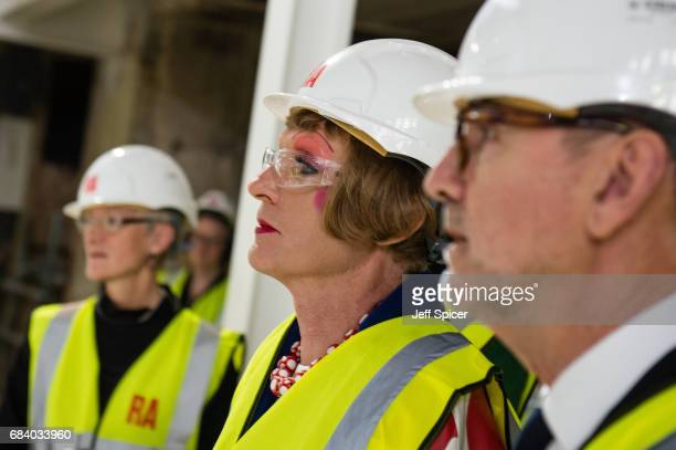 Royal Academicians Rebecca Salter Grayson Perry and Christopher Le Brun launch the public appeal 'Make Your Mark' in the new Lecture Theatre at the...