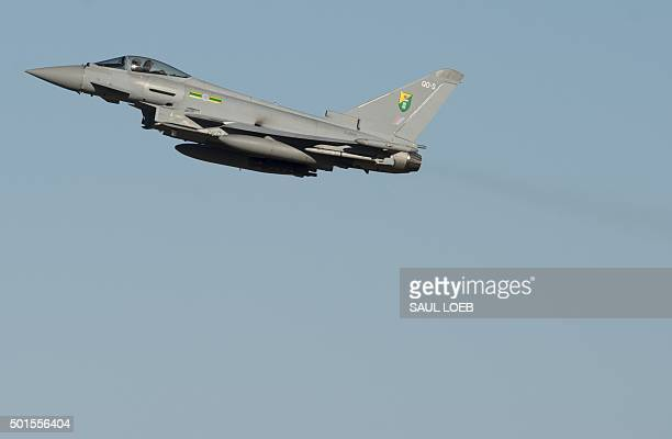 A Royal Air Force Eurofighter Typhoon aircraft flies during the inaugural Trilateral Exercise between the US Air Force United Kingdom's Royal Air...