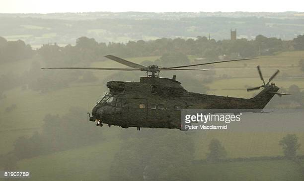 Royal Air Force Puma helicopter flies to RAF Fairford for a flypast on July 11 2008 in Fairford Gloucestershire England Ninety aircraft flew in...