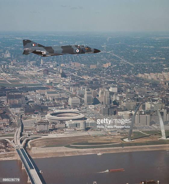 A Royal Air Force RAF McDonnell Douglas F4M Phantom flies over downtown St Louis in Missouri during a test flight from the McDonnell Douglas aircraft...