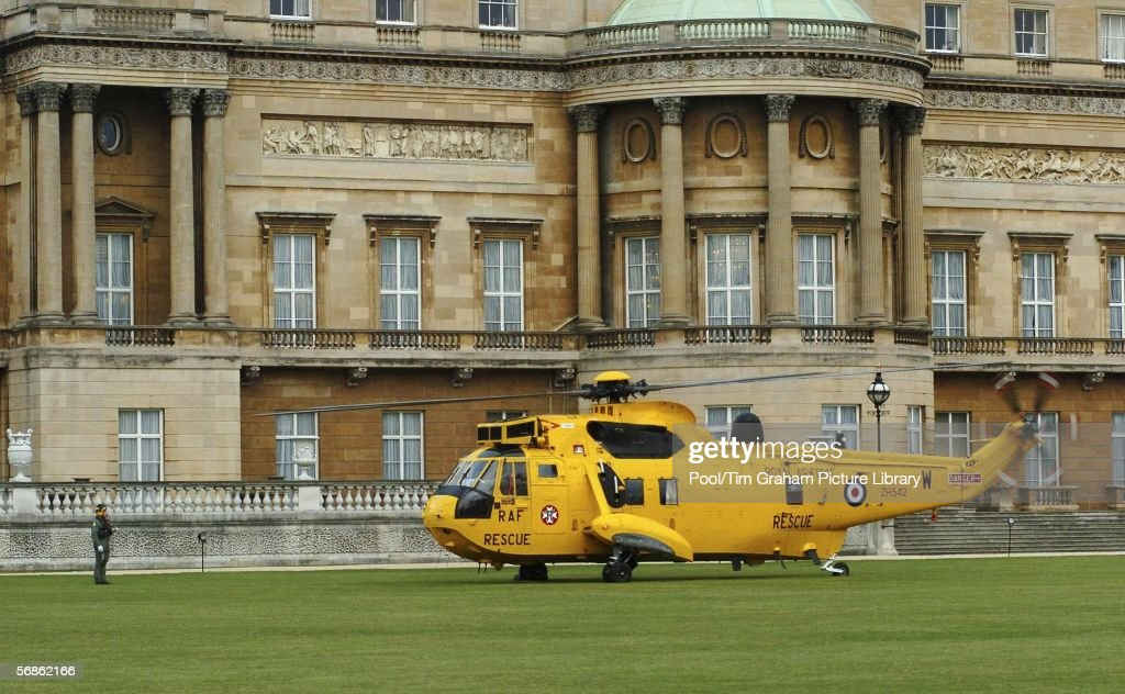 A Royal Air Force Sea King Mark 3 rescue helicopter lands on the lawns of Buckingham Palace on February 15, 2006 in London, England. Emergency response services gather at the palace for an Emergency Services & Disaster Response Reception