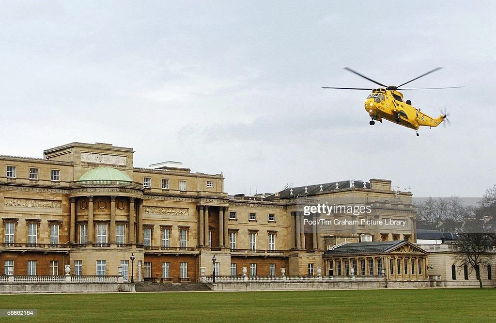 A Royal Air Force Sea King Mark 3 rescue helicopter prepares to land on the lawns of Buckingham Palace on February 15, 2006 in London, England. Emergency response vehicles were gathered at the palace for an Emergency Services & Disaster Response Reception.