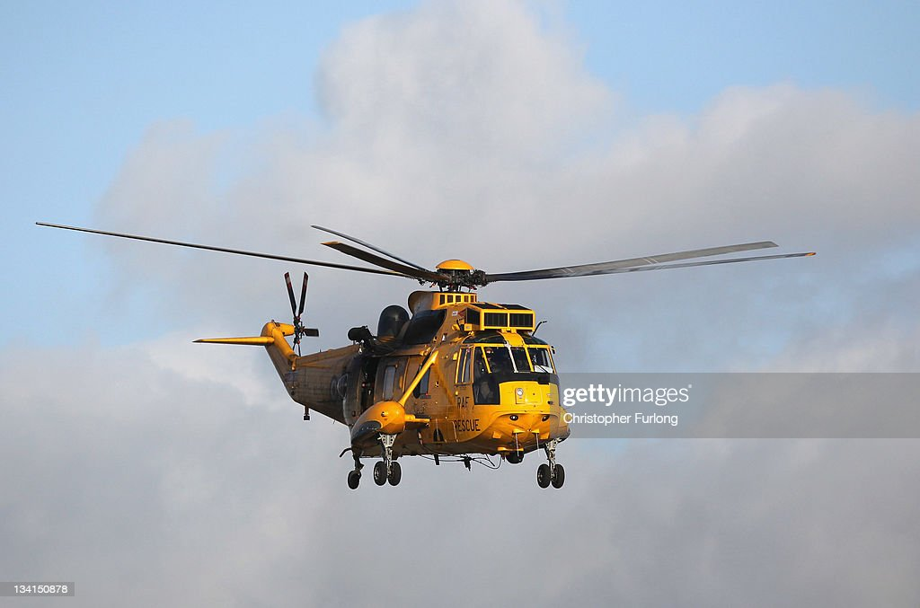 A Royal Air Force search and rescue helicopter leaves RAF Valley as the search continues for the crew of cargo vessel The Swanland which sank off north Wales on November 27, 2011 in Anglesey, Wales. Five crew are still missing after the recovery of one body today. Prince William, the Duke of Cambridge, is a search and rescue helicopter co-pilot and took part in the rescue last night which saved two crewman.