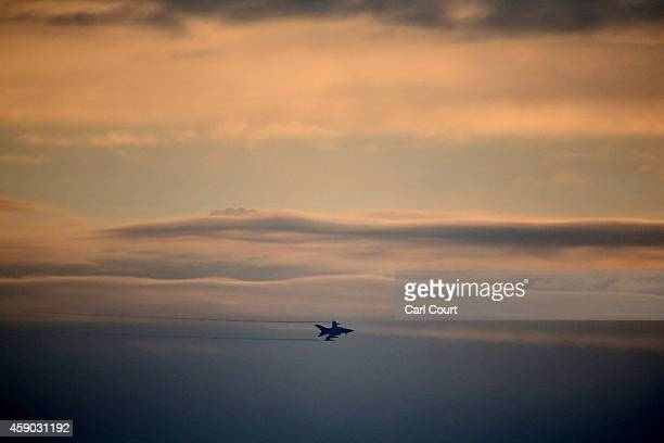 Royal Air Force Tornado GR4 prepares to arrive at Royal Air Force Marham on November 15 2014 near the village of Marham in the English county of...