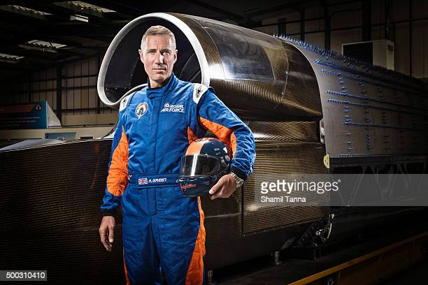 Royal Airforce pilot and current holder of the world land speed record Andy Green is photographed for Red Bulletin magazine on June 13 2014 in...