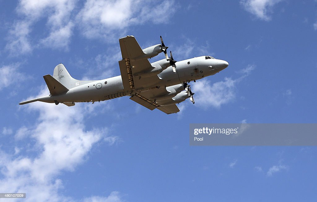 Royal Australian Air Force AP3C Orion takes off at RAAF Pearce Base to join the search for missing Malaysian Airlines flight MH370 on March 23 2014...