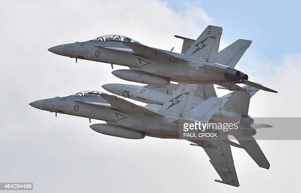 Royal Australian Air Force F18 Hornets perform during the Australian International Airshow at the Avalon Airfield near Lara southwest of Melbourne on...