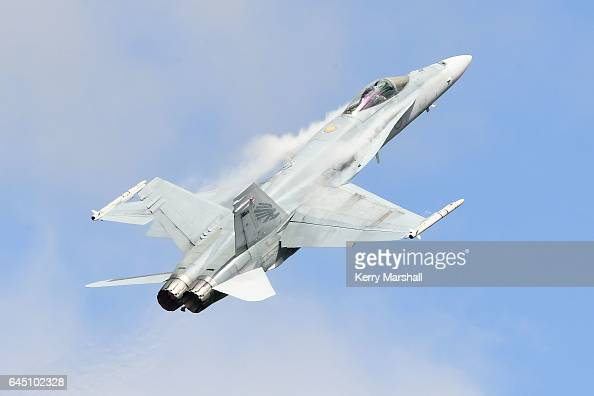 Royal Australian Air Force F/A18 Hornet performs at the 2017 Air Tattoo at RNZAF Base Ohakea on February 25 2017 in Ohakea New Zealand The Royal New...