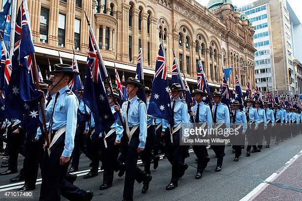 Royal Australian Airforce Cadets march along George Street during the Anzac Day Parade on April 25 2015 in Sydney Australia Australians are...